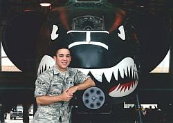 Courtesy Photo of new father, Julian Jonse, in front of A-10