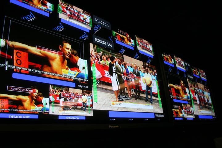 Close up of new flat screen monitors.