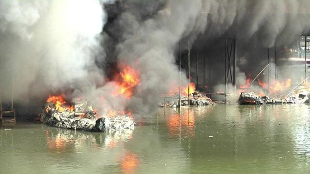 Highport Marina's U Dock was destroyed by fire on July 19, 2017. (KTEN)