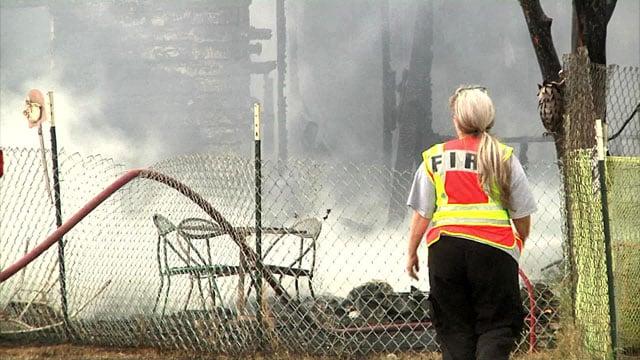 Fire destroyed a residence near Kingston. (KTEN)