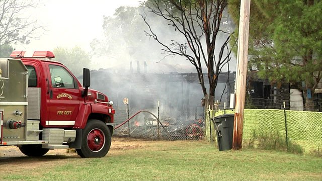 Five fire departments teamed up to bring a house fire near Kingston under control. (KTEN)