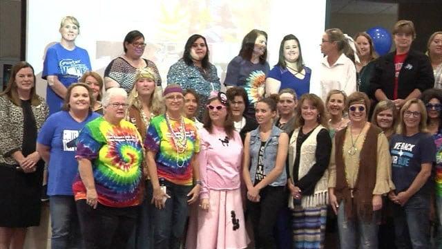 The staff at Gunter Elementary celebrates the Blue Ribbon recognition. (KTEN)
