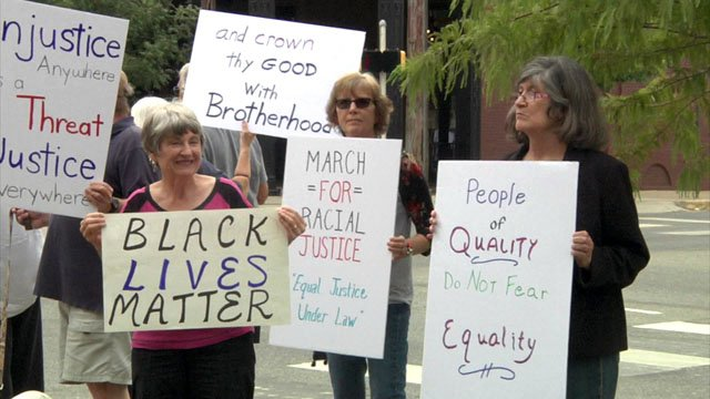 A peaceful protest for racial justice at the Grayson County Courthouse. (KTEN)