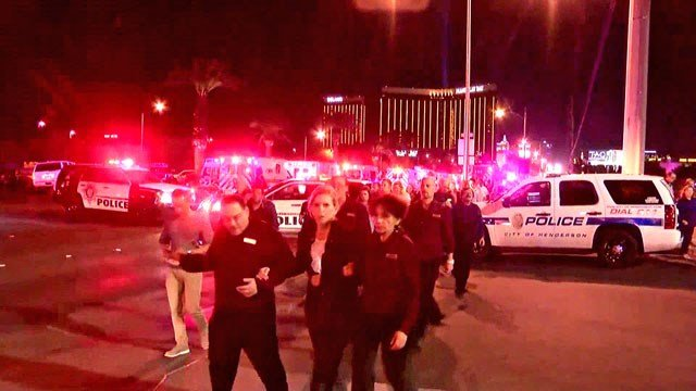 Scene near the Mandalay Bay casino in the minutes after Sunday night's sniper fire.