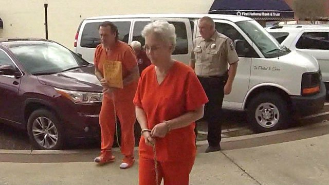 Rex and Rebecca Clark arrive at the Pontotoc County Courthouse to stand trial for murder. (KTEN)