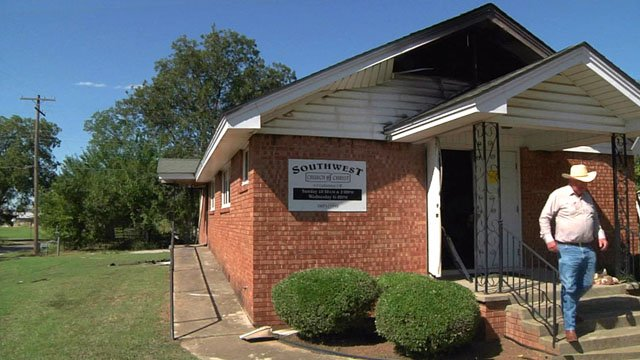 The Southwest Church of Christ in Ardmore was heavily damaged by fire. (KTEN)