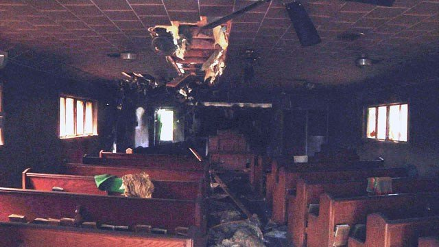 The interior of the Southwest Church of Christ in Ardmore suffered heavy damage in the fire. (KTEN)