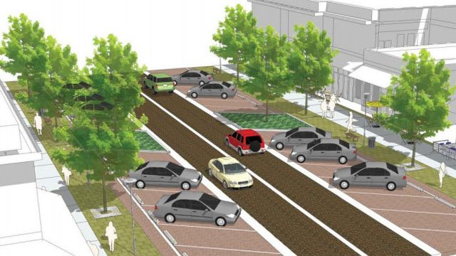 An illustration of new pavement, parking and landscaping planned for downtown Denison. (City of Denison)