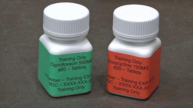 Volunteers in the bio-terrorism drill received mock medications. (KTEN)