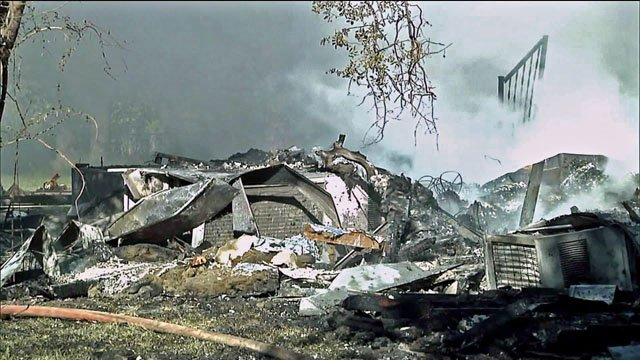Three people were injured Monday morning when an explosion leveled their home in Mead, Oklahoma. (KTEN)