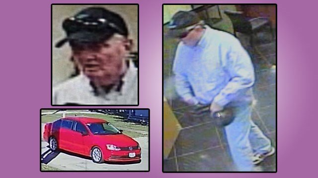 Surveillance photos show the suspect in Monday's holdup at City Credit Union in Gainesville and the vehicle he may have been driving. (Gainesville PD)
