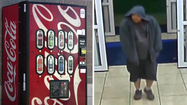 Surveillance photos show the suspect in a series of vending machine thefts in Sherman and Denison. (KTEN)