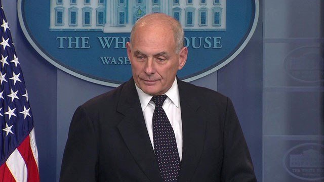 White House Chief of Staff John Kelly addresses reporters in the briefing room on Wednesday. (CNN)