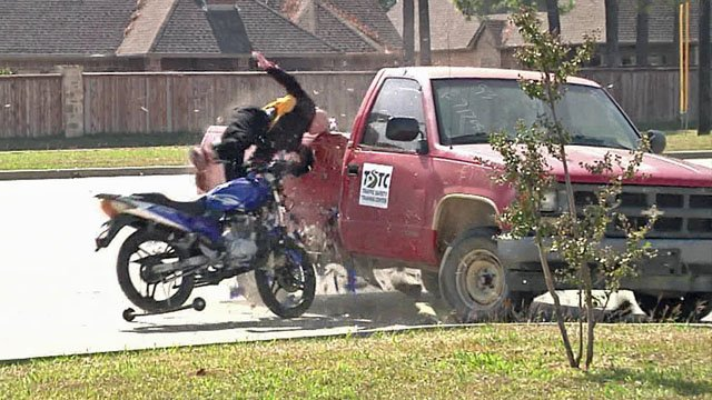That's a dummy absorbing the impact of a motorcycle crash simulation in Sherman. (KTEN)