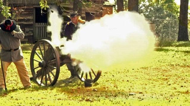 A cannon is fired at Civil War Days at Frontier Village in Denison. (KTEN)