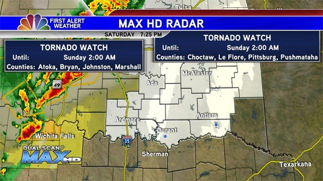 Most of Texoma was under a Tornado Watch until 2 a.m. Sunday. (KTEN)