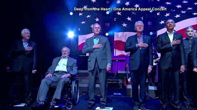 The five living U.S. presidents made a rare joint appearance Saturday at a fundraising  event in Austin.  (One America Appeal)