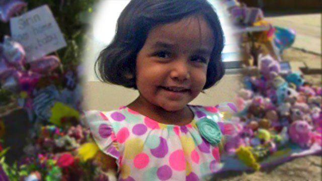 A portrait of Sherin Mathews superimposed over a memorial to the three-year-old Richardson girl.