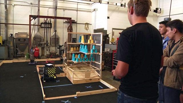 The Denison High School Robotics Team at work on their latest project. (KTEN)