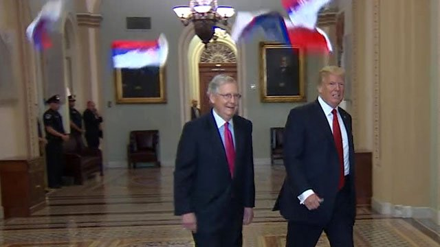 Protester Throws Russian Flags at Trump Before Capitol Hill Lunch