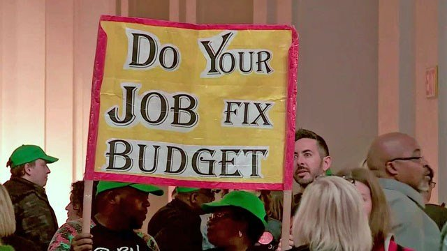 Protesters packed the Oklahoma Capitol to call on lawmakers to fix the state budget shortfall. (KFOR)
