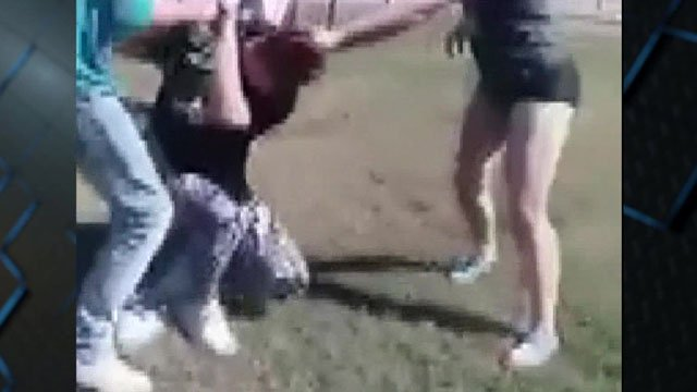 An online video shows Janie McCoy being assaulted by a teenage girl. (YouTube)