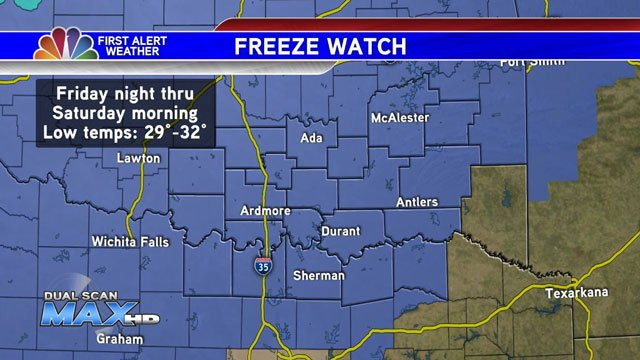 A Freeze Watch has been extended to include all of Texoma. (KTEN)