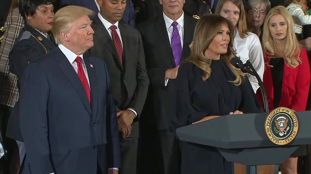 First lady Melania Trump speaks before the president's address on the opioid crisis. (CNN)