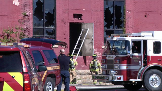 Fire caused damage to a building at the Sherman Manufacturing Company site. (KTEN)