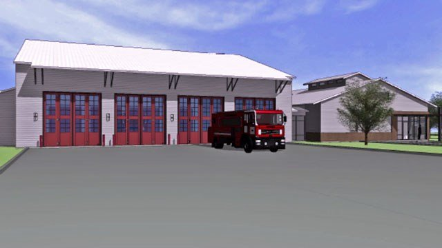 An architectural drawing of the new Fire Station No. 4. in Sherman. (KTEN)