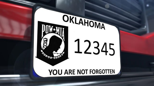 The POW/MIA awareness license plate is now available to order in Oklahoma. (KTEN)