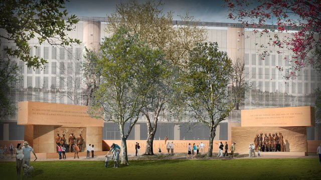 An artist's rendering of the Eisenhower Memorial in Washington. (Courtesy Eisenhower Memorial)