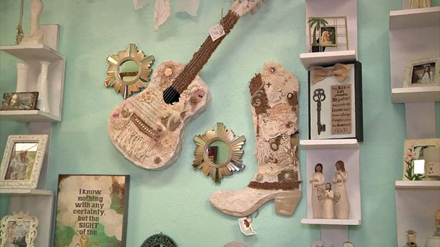 Shackleford and Taylor take garage sale items and turn them into works of art. (KTEN)