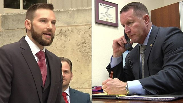 Britton Brooks (left) and Brett Smith are running for Grayson County District Attorney. (KTEN)