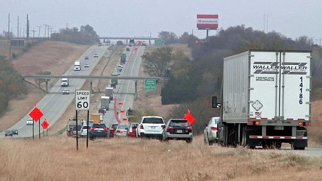 Southbound traffic on I-35 was slowed near Thackerville after a fatal truck accident. (KTEN)
