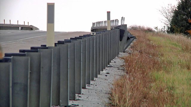 A truck driver died after his vehicle hit this guardrail and crashed on I-35 in Love County. (KTEN)