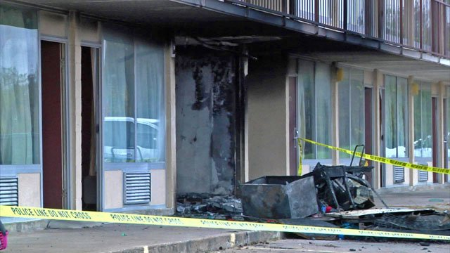 The fire gutted a ground floor unit at the Executive Inn. (KTEN)