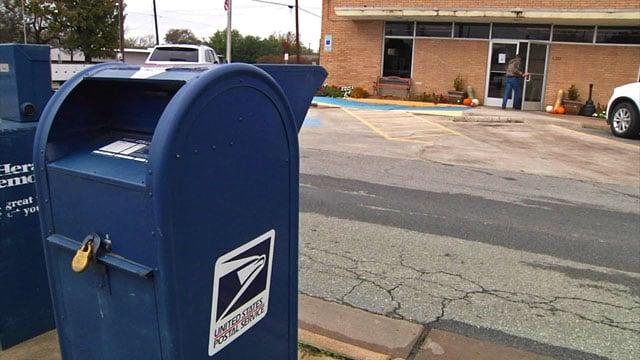 A mailbox at the Van Alstyne post office was broken into last week. (KTEN)