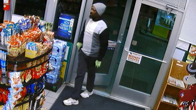 Sherman police released this image of the suspect in an armed convenience store holdup. (Surveillance photo)