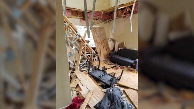 Aftermath of the floor collapse at a Denton apartment building. (KTVT via CNN)