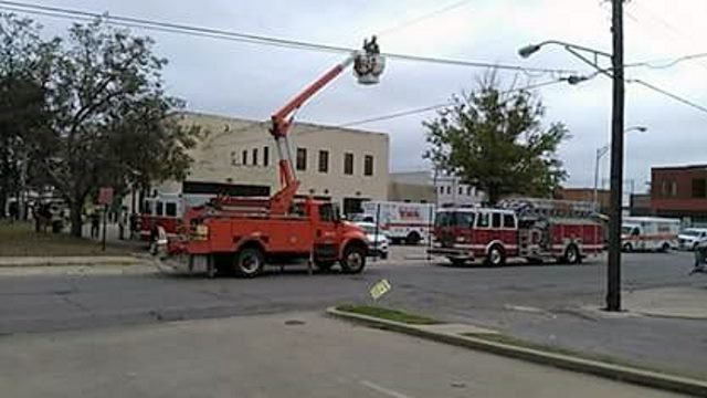 A worker on a lift was injured after touching a live wire near Durant City Hall. (Courtesy Lisa Anthony)
