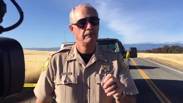 Tehama County Assistant Sheriff Phil Johnston briefs reporters about the shootings. (KHSL via CNN)