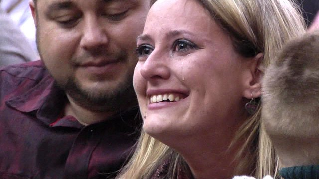 Amanda Brown sheds tears of joy as the adoption of her son becomes official. (KTEN)