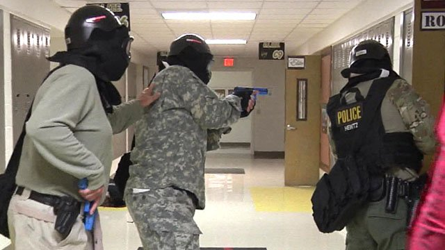 Police trained for an active shooter situation in Denison in July 2017. (KTEN)