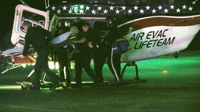 An helicopter ambulance was used to airlift one of the young shooting victims to a hospital. (KTEN)