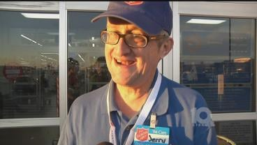 Jerry Booker has manned a Salvation Army collection kettle for 17 years. (KTEN)
