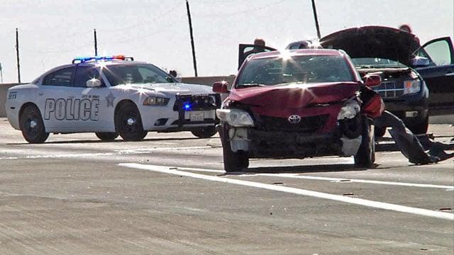 Multiple accidents shut down U.S. 75 on the Sherman-Howe border on Sunday. (KTEN)