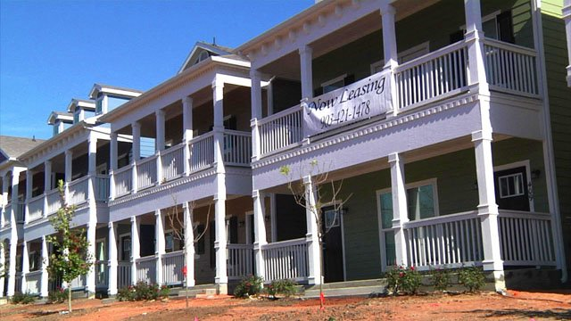 The Heritage Row townhomes are now available for leasing in central Sherman. (KTEN)
