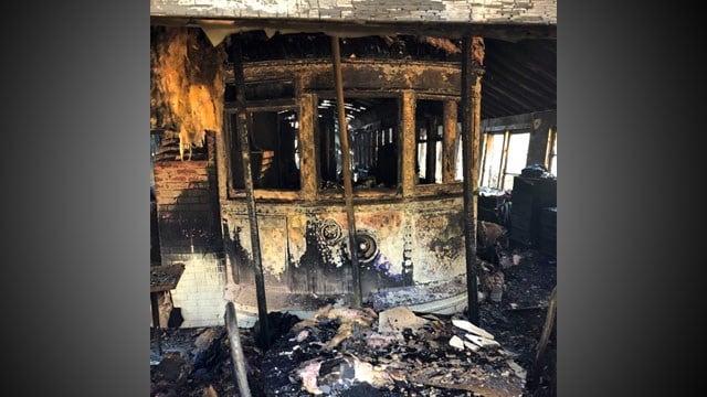A vintage trolley car was damage in the Pottsboro fire. (KTEN)