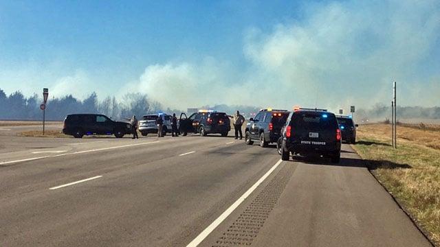 A grass fire burned along U.S. 82 in Fannin County. (KTEN)